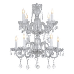 "The Gallery - Murano Venetian Style All-crystal Chandelier H 30"" X W 24"" [Kitchen] - THIS MAGNIFICENT CHANDELIER IS ALL 100% CRYSTAL. Nothing is quite as elegant as the fine crystal chandeliers that gave sparkle to brilliant evenings at palaces and manor houses across Europe. This beautiful chandelier is decorated with 100% crystal that capture and reflect the light of the candle bulbs, each resting in a scalloped bobache. The crystal glass arms of this wonderful chandelier give it a look of timeless elegance that is sure to lend a special atmosphere in any home.Assembly Required."