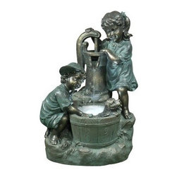 Alpine Corporation - Old Fashioned Pump with 2 Kids and LED Lights - Let the flow of water and whimsical detail of our polyresin fountains add a fanciful and elegant feel to any of your garden spaces.