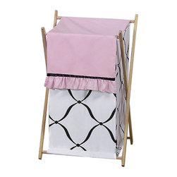 Sweet Jojo Designs - Princess Black, White and Pink Laundry Hamper by Sweet Jojo Designs - The Princess Black, White and Pink Laundry Hamper by Sweet Jojo Designs, along with the  bedding accessories.
