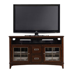 "Hooker Furniture - Latitude 54"" Entertainment Console - White glove, in-home delivery included!  The luxurious Latitude collection is crafted using hardwood solids and walnut veneers.  One center channel speaker area with partition, two drawers with removable CD/DVD dividers, two wood-framed glass doors with metal overlay and one adjustable shelf behind each, one three plug outlet.  Speaker area: 51 1/4"" w x 19 1/8"" d x 6 1/2"" h"