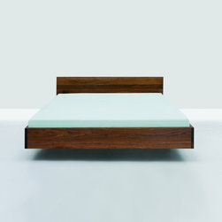 Zeitraum - Simple Hi-Queen- Walnut - Simple Hi is the bed in it's simplest form and function.  This floating solid wood platform bed was designed by Formstelle and is far and away our most popular bed. The lightness of the construction is intensified by the floating frame which has hidden support legs.