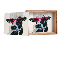 DENY Designs - Coco De Paris Jetset Cow Storage Box - Love yourself a knickknack or two (or three)? Well, then this is the box for you! The Amber Bamboo wooden Storage Box is available in two sizes with a printed exterior lid and interior bottom. So, you can still be a collector of sorts, but now you've got an organized home for it all. 100% sustainable, eco-friendly flat grain amber bamboo wood box with printed glossy exterior lid and interior bottom. Custom made in the USA for every order.