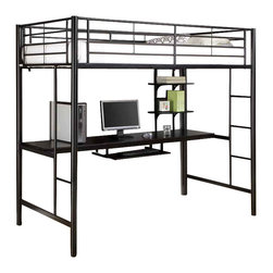 Walker Edison - Twin Sunset Metal Workstation Loft Bed - Black - Made of Powder Coated Steel. Pictured in Black. Stylish contemporary design. Attractive lead-free powder-coated finish. Conforms to the latest consumer product safety standards. Sturdy and spacious work surface. Keyboard tray and shelving for organization. Ideal space-saving design. Maximum recommended upper mattress thickness of 9 in.. Sturdy construction . Does NOT include mattresses or bedding. Ships Ready-To-Assemble  . Assembly instructions with online support and toll-free number available. Clearance height from the floor to the bottom of the bed: 55 in.. 79 in. W x 42 in. D x 71 in. H. Weight limit: 250 lbsElegance and function combine to give this contemporary bunk bed a striking appearance. The design gives a stylish modern look crafted with durable steel framing. Designed with safety in mind, the bed includes full length guardrails and a sturdy integrated ladder. Great for any space-saving design needs.. NOTE: ivgStores DOES NOT offer assembly on loft beds or bunk beds. Bunk Bed Warning. Please read before purchase.