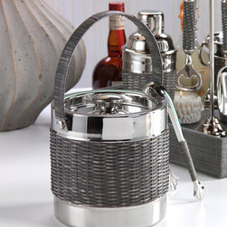 Woven Cane Ice Bucket with Ice Tong - With a stunning grey woven sugarcane detailing the outer portion of the bucket along with it's shining nickel composition, the Woven Cane Ice Bucket/Tongs and corresponding collection epitomizes casual elegance. Utilize the matching Bartool Set, Wine Cooler and Cocktail Shaker in your pool house or pub room and you have a beautiful collection for your bar that is sure to delight.