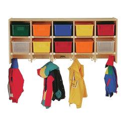 Jonti-Craft - 10 Section Wall Mount Coat Locker - Large double hooks provide enough space for ten children.