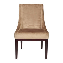 Safavieh - Cyril Arm Chair - The simplicity of lines and gently sloping arms of the mink brown velvet upholstered Cyril Arm Chair, with legs finished in cherry mahogany, prove an elegant combination. Slope can dress up casual country dining rooms, add class to classic settings and even rest at ease in contemporary homes.