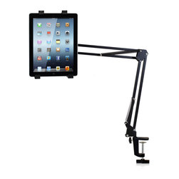 Furinno - Furinno Hidup IP02 360 Degree Tablet Stand - Furinno Hidup IP02 Mid Multifuctional 360 Degree Tablet Stand is designed to fit in a industrial look. It can be easily clamped onto the table top surface by just tightening the screw. Flexible angle adjusting mechanism allows you to easily move the tablet towards the desired direction. Due to its flexibility, it can be used in bedroom, bathroom, office, kitchen and living room. The unit universally fits for most of the tablet from 5.6-inches to 10-inches including iPad, Xoom, Kindle, Nook, Galaxy, etc. It is made of durable ABS metal for long lasting use.