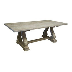 Pre-owned Reclaimed Douglas Fir Grey Wash Dining Table - Classical elegance with distressed charm. This dining table is made of reclaimed Douglas Fir wood with a grey wash wax finish.