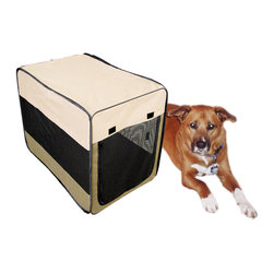 Buffalo Tools - Sportsman Series Portable Pet Kennel For Medium Size Dogs - Portable Pet Kennel For Medium Size Dogs by Sportsman Series The Sportsman Series Portable Pet Kennel offers a lightweight and convenient way to keep your pets safe and secure while traveling, camping, or at home. The pop up design sets up in the blink of an eye, then easily collapses and folds into a carrying case for convenient storage. The soft-sided design is strong, durable, weather resistant, and comfortable for man's best friend. The mesh windows and zipper door offers lots of space for ventilation. Hook and loop fasteners help keep kennel stationary on carpeted surfaces. Pop-up design is perfect for traveling, camping and home For medium size dogs weighing 40 to 70 lbs. Overall size: 37 in. L x 24.5 in. W x 27.5 in. H Water resistant 600D construction with wire frame Easily collapses into a soft-sided carrying case for convenient storage