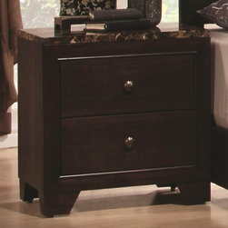 Coaster - Corner Nightstand w Faux Marble Top - Contemporary style. Two dovetail drawers. Drawers are great for keeping books, magazines, lotions and alarm clocks. Brushed nickel metal round knobs. Bracket feet. Metal glides. Made from hardwood and veneers. Dark walnut finish. 22 in. W x 15.75 in. D x 22.5 in. H. WarrantyYou'll have a handsome companion for your bedside with this nightstand. Simple, yet, stunning, this night stand is sure to please.