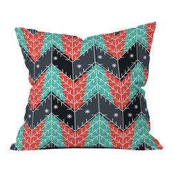 DENY Designs - DENY Designs Sam Osborne Christmas Trees Throw Pillow, Medium - Wanna transform a serious room into a fun, inviting space? Looking to complete a room full of solids with a unique print? Need to add a pop of color to your dull, lackluster space? Accomplish all of the above with one simple, yet powerful home accessory we like to call the DENY Throw Pillow! Available in four sizes, our throw pillow is made from a medium weight woven polyester with a hidden zipper and removable bun insert.
