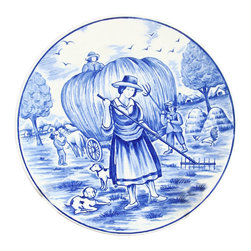 EuroLux Home - Small Consigned Vintage Blue Delft Plate Autumn Fall - Product Details