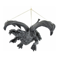 Skullplanet - Dragon in Flight Hanging Sculpture - This awesome dragon is sure to get attention, hanging from your ceiling Made of cold cast resin, it measures 9 1/2 inches long, 4 1/2 inches tall, and 8 inches wide. It makes a great gift for collectors of fantasy art. To maximize the flying effect, try hanging it with strong fishing line.