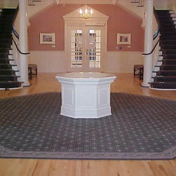 Custom stair runners and Octagon Rugs for Longwood University Rotunda - Custom made axminster carpets were made into runners for 2 flights of stairs and an octagon rug for the front entry of the new rotunda at Longwood University.