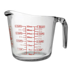 Harold Import Co. - 4-Cup Glass Measuring Cup - Bake efficiently with the sturdy glass and 4-cup capacity of this measuring cup.   5.75'' H x 7.75'' diameter Holds 4 cups Glass Dishwasher- and microwave-safe. Made in the USA