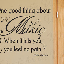 Decals for the Wall - Wall Quote Decal Vinyl Sticker Art Bob Marley Music Makes You Feel No Pain S36 - This decal says ''One good thing about music when it hits you, you feel no pain. - Bob Marley''
