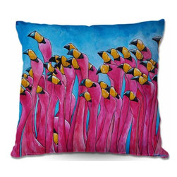 DiaNoche Designs - Pillow Woven Poplin from DiaNoche Designs - Peace Love Flamingos - Toss this decorative pillow on any bed, sofa or chair, and add personality to your chic and stylish decor. Lay your head against your new art and relax! Made of woven Poly-Poplin.  Includes a cushy supportive pillow insert, zipped inside. Dye Sublimation printing adheres the ink to the material for long life and durability. Double Sided Print, Machine Washable, Product may vary slightly from image.