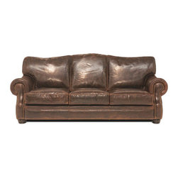 Royale Sofa - The Royale Sofa features 100% top grain cowhide. Shown in Brompton Cocoa, this sofa is available in several different textures and colors.