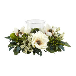 Magnolia Candelabrum Silk Flower Arrangement - The Magnolia is the perfect flower when you want a soft, warm feeling from your home decor. And this Magnolia Candelabrum perfectly captures those feelings. With an array of magnolia blooms, leaves, stems, and berries surrounding a single candle holder, this makes an ideal centerpiece, mantle, or shelf decoration. Heck, put it anywhere and watch the glow! Height= 6.5 in x Width= 14 in x Depth= 14 in