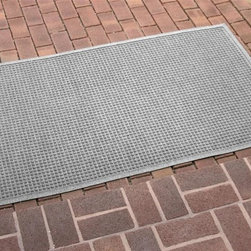 Bungalow Flooring - 36 in. L x 60 in. W Medium Gray Waterguard Squares Mat - Made to order. Crisp squares design traps dirt, resists fading, rot and mildew. Indoor and outdoor use. 36 in. L x 60 in. W x 0.5 in. H