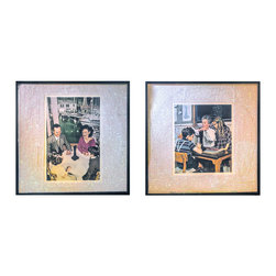 """Glittered Led Zeppelin Presence Album 2 piece installation - Glittered record album. Album is framed in a black 12x12"""" square frame with front and back cover and clips holding the record in place on the back. Album covers are original vintage covers. 2 pieces"""