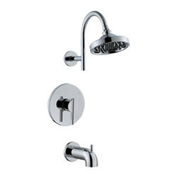 DHI-Corp - Geneva Tub and Shower Faucet, Polished Chrome - The Design House 525709 Geneva Tub and Shower Faucet features a single handle design to easily adjust the temperature in your bathtub or shower. Finished in polished chrome, this faucet set is refined and elegant with a washer less cartridge and brass waterways. The brass waterways contain zinc and copper which are known to prevent antimicrobial growth ensuring safe and clean water for your family. Washerless construction reduces leakage problems that can result from worn washers, while the simple design aids in low-maintenance upkeep. The adjustable shower head and tub spout are sleek, modern and stylish and can easily match any color scheme or style in your bathroom. This single function shower head is pressure balanced with a 2.1-gallon per minute flow rate which ensures a steady water flow after years of everyday use and is UPC, ADA and cUPC compliant. This faucet has a brass valve body, ABS shower head, brass shower arm, zinc flange and spout and a quarter turn stop lever handle operation. The pull-up diverter spout will quickly disperse water out of the shower head. The Design House 525709 Geneva Tub and Shower Faucet comes with a lifetime limited warranty that protects against defects in materials and workmanship. Design House offers products in multiple home decor categories including lighting, ceiling fans, hardware and plumbing products. With years of hands-on experience, Design House understands every aspect of the home decor industry, and devotes itself to providing quality products across the home decor spectrum. Providing value to their customers, Design House uses industry leading merchandising solutions and innovative programs. Design House is committed to providing high quality products for your home improvement projects.