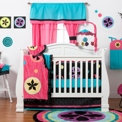"Magical Michayla - Infant Accessory Set (6pc) - Let the ""Magic"" of ""Magical Michayla"" come to life in a room filled with color!  Bold black surrounded by Kaleidoscope like patterns showcased in hues of pink, blue, green, yellow, purple and orange make this collection perfect for all personalities.  Add life to your room by adding the collection's accessory items.  This 6pc infant accessory set includes a toy bag, mobile, 3 pc canvas art pack, and 2 sheets of wall decals. Toy bag has pleats at bottom to allow more room for toys and storage.  Bag is  hung utilizing the ties on each side. Magical Michayla musical mobile showcases all the colors in the collection.  Top is cotton fabric with main color of turquoise and ruffle trim in pink.  Each hanging piece is designed in minky fabrics and are miniature replicas of the collections signature pattern.  Our 3pc canvas art pack takes the ""Magical Michayla"" signature pattern and puts life to the rooms walls.  Each with a bold black background and designed with pattern in most of the collections colors.  A gorgeous accent for the room or bathroom. Add a little or a lot of detail to the room with ""Magical Michayla"" wall decals which come to match many of the kaleidoscope patterns shown in this collection.  SAVE WHEN YOU BUY AS A SET!"