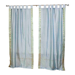 Indian Selections - Pair of Gray Tab Top Sheer Sari Curtains, 43 X 96 In. - Size of each curtain: 43 Inches wide X 96 Inches drop