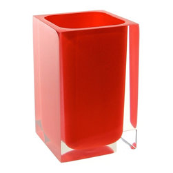 Gedy - Square Toothbrush Holder, Red - Decorative square toothbrush holder or tumbler
