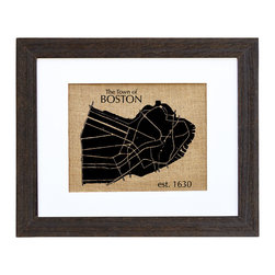 Fiber and Water - Town Of Boston Art - Hand-printed onto natural burlap, this lovely silhouette of Boston and its major city streets has a unique texture and character all its own, much like the town itself. It comes ready to hang in a distressed black wood frame that complements the print's nostalgic, earthy vibe.