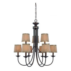 Jeremiah Lighting - Traditional 9 Light Up Light Chandelier from the Spencer Collection - The Spencer family offers extremely affordable options and styling to enhance the dcor of the trendiest of homes.