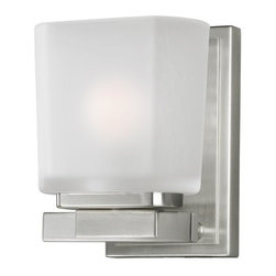 Z-Lite - Z-Lite 3002-1V Agra 1 Light Bathroom Sconce - A single vanity light displayed in a square cube white frosted glass shade, with a brushed nickel finish for a fresh and modern look.Specifications: