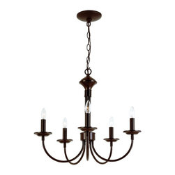 Joshua Marshal - Five Light Rubbed Oil Bronze Up Chandelier - Five Light Rubbed Oil Bronze Up Chandelier