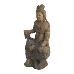 Golden Lotus - Sitting Peaceful KwanYin Chinese Antique Wooden Carving Statue - This is a Chinese antique  wooden sitting KwanYin statue which is made of solid elm wood.  It is perfect to put at your entrance of hall way.