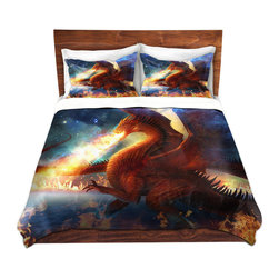 DiaNoche Designs - Duvet Cover Twill - Lord of the Celesetial Dragons - Lightweight and super soft brushed twill Duvet Cover sizes Twin, Queen, King.  This duvet is designed to wash upon arrival for maximum softness.   Each duvet starts by looming the fabric and cutting to the size ordered.  The Image is printed and your Duvet Cover is meticulously sewn together with ties in each corner and a concealed zip closure.  All in the USA!!  Poly top with a Cotton Poly underside.  Dye Sublimation printing permanently adheres the ink to the material for long life and durability. Printed top, cream colored bottom, Machine Washable, Product may vary slightly from image.