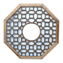 Golden Lotus - Octagon Plain Wood Patten Center Circle Decor Wall Panel - This is a traditional Chinese decorative panel with geometic pattern in octagon shape. ( two sides finish )