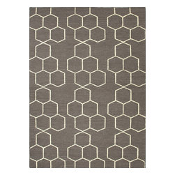 Jaipur Rugs - Flat Weave Geometric Pattern Gray /Black Wool Handmade Rug - MR02, 5x8 - An array of simple flat weave designs in 100% wool - from simple modern geometrics to stripes and Ikats. Colors look modern and fresh and very contemporary.