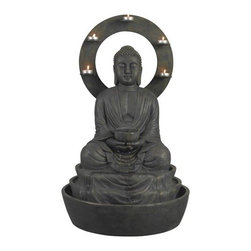 "Kenroy Home - Kenroy Home 51004 Ando Outdoor Fountain in Weathered Bronze Finish - Kenroy Home 51004 Ando Outdoor Fountain in Weathered Bronze FinishA peaceful Buddha, the serene sounds of trickling water, and a halo of candle-glow make for a relaxing evening. Beautifully carved and 30"" tall, Ando is also a tremendous value.Kenroy Home 51004 Features:"