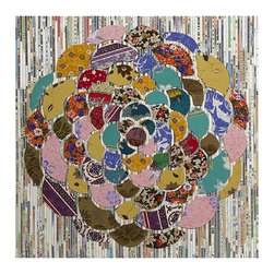 "IMAX - Grazia Batik and Newspaper Wall Decor - Overlaying a woven background of newsprint, the Grazia wall decor features a hand laid flower design made using batik patterns pulled from various hand decorated fabrics to create a piece of unique wall art for any home. Item Dimensions: (30""h x 30""w x 2"")"