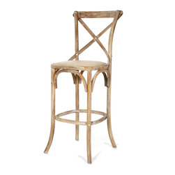 Parisienne Cafe Bar Stool - Limed Grey Oak - Though the lines of the Parisienne Cafe Bar Stool are simple, the clever way that structural elements have been pared, curved, and combined makes the traditional wood barstool worthy for inclusion in the most refined of wet bars and kitchens. The x-shaped back adds a pleasing touch of the rustic to a lofty overall shape, and the contrast between them makes for an elegant interior choice.