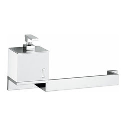 "Modo Bath - Demetra 1927 Towel Bar with Soap Dispenser 17.7"" - Demetria 1927 Soap Dispenser and Towel Bar, 17.7"" W x 3.5"" D x 7.9"" H, in Polished Chrome"