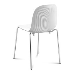 Domitalia - Playa Stacking Chair - White - Chrome Frame - Set of 2 - Fabrizio Batoni's Playa Chair is subtle, compelling - with a minimal silhouette that is highlighted by textural ribbing at the back of its transparent scooped seat. The structure is made using an embossing process which creates an interplay of refracted light. Playa features a 4-leg chromed frame with styrene acryl nytril shell in two colors. Select Light Blue (Turquoise) or Smoke Grey. Stackable to six high. Sold in sets of two.