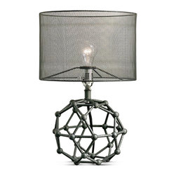 Kathy Kuo Home - Hutten Industrial Loft Black Mesh Zinc Molecular Table Lamp - A building block of style, this zinc table lamp has a beautiful base, shaped like a molecule. The dark grey finish is continued in the mesh drum shade, translucent enough to see the fixture holding a single light, illuminating your eclectic, intelligent taste.