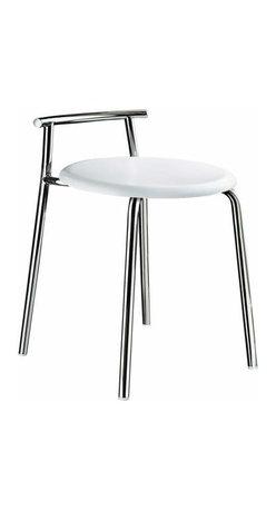 Smedbo - Smedbo Outline Bathroom Stool Steel White Seat - Smedbo Outline Bathroom Stool Steel White Seat
