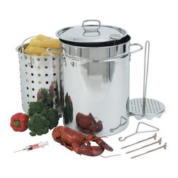 BARBOUR INT'L - 32QT Turkey Fryer with LID - Features: