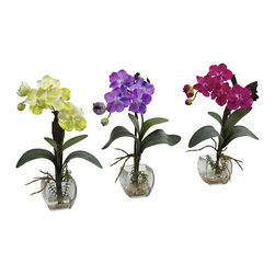 """Nearly Natural - Nearly Natural Mini Vanda Orchid Arrangement (Set of 3) - Oh goodness do we love Orchids. Colorful, rare, intricate, delicate, unique, timeless... these are words that many use to describe this incredible flower. And we've perfectly captured all of that with this set of three Mini Vanda Orchids. Complete with vases and liquid illusion faux water, this """"triple your decorating beauty """"set is ideal for home, office, or even a thoughtful gift."""