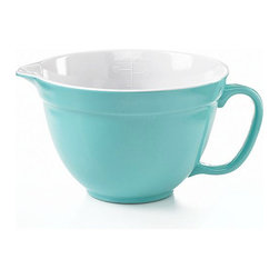 Martha Stewart Collection Batter Bowl, 2-Quart - We all have those functional but not fashionable glass measuring cups. Why not upgrade with this pourable batter bowl in the most perfect robin's egg blue?