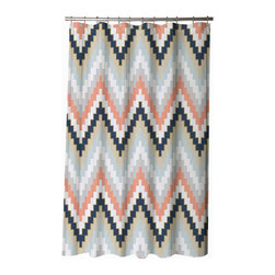 BlissLiving Home - Blissliving Home Harper Blue Shower Curtain - -twelve buttonholes