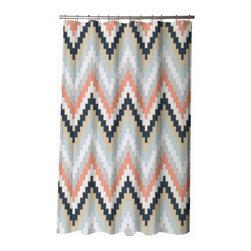 BlissLiving Home - Blissliving Home Harper Blue Shower Curtain - -twelve buttonholes