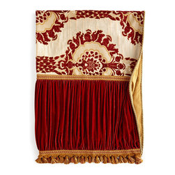 "Dian Austin Couture Home - Rue Royale Throw 72"" x 54"" - PAPARIKA/BEIGE (72X54) - Dian Austin Couture HomeRue Royale Throw 72"" x 54""DetailsMade of rayon polyester and silk.Chenille medallion center.Ruched paprika velvet sides.Tassel fringe and cord embellishments.Cotton/polyester backing.Dry clean.Made in the USA of imported fabrics.Designer About Dian Austin Couture Home:Taking inspiration from fashion's most famous houses of haute couture the Dian Austin Couture Home collection features luxurious bed linens and window treatments with a high level of attention to detail. Acclaimed home designer Dian Austin introduced the collection in 2006 and seeks out extraordinary textiles from around the world crafting each piece with local California artisans."